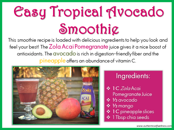 Easy Tropical Avocado Smoothie