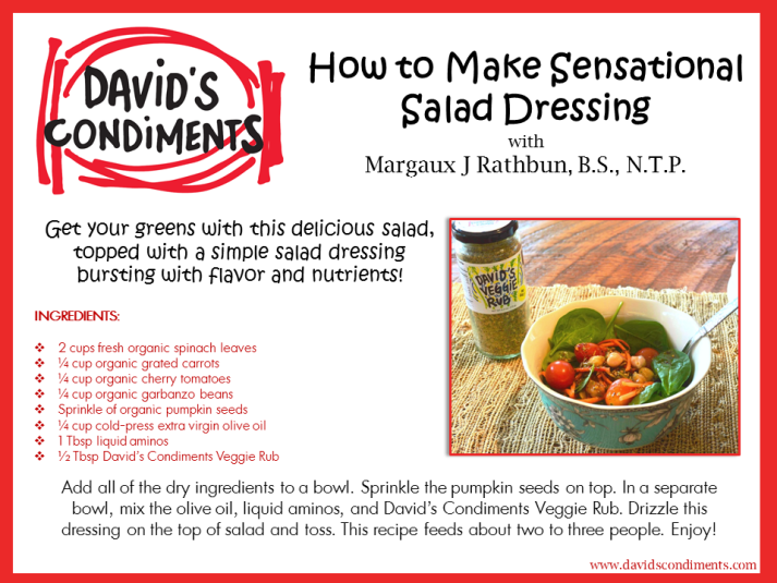 Sensational Salad Dressing Recipe Card
