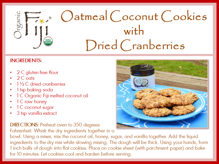 Coconut Oatmeal Cranberry Cookies
