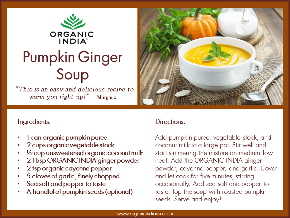 Facebook giveaway win a bag of ginger powder from organic india ginger pumpkin soup recipe forumfinder Images