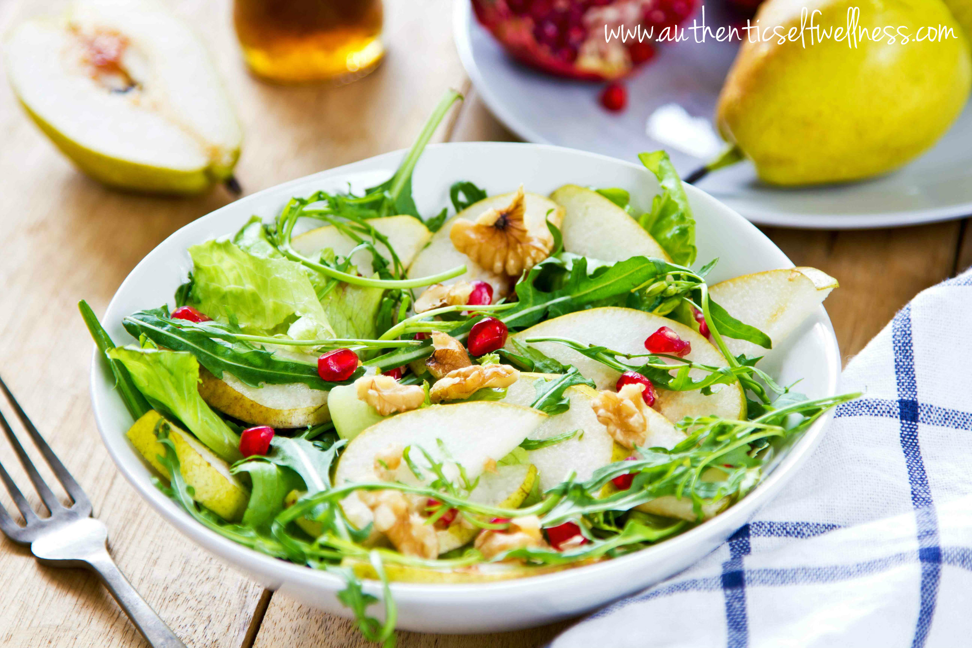 Pomegranate Pear Arugula Salad