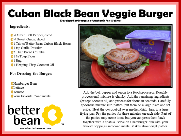 Cuban Black Bean Burger Recipe Card