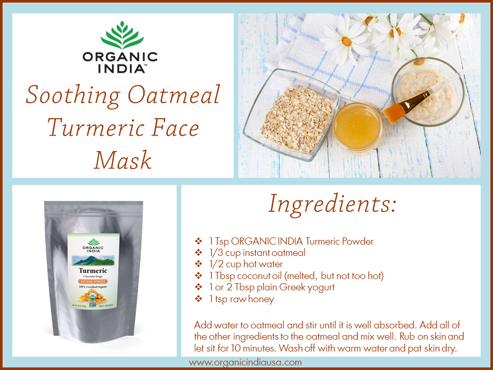 OI Turmeric Oatmeal Mask Recipe Card